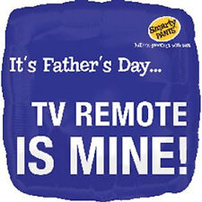 "FATHER'S DAYPARTY SUPPLIES 18"" SQUARE TV REMOTE IS MINE ANAGRAM FOIL BALLOON"