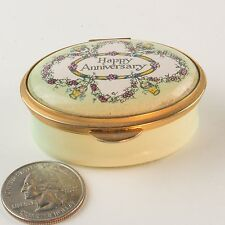 Vintage 'HAPPY ANNIVERSARY' Staffordshire Enamel Oval Trinket Pill Box