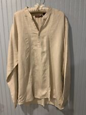 Cubavera Embroidered Tan Linen Blend 1/2 Button Top Women's Size XXL~~~C1