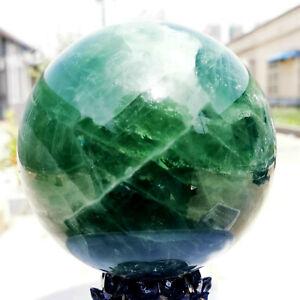 Natural Green Fluorite Ball Quartz Crystal Healing Sphere Reiki Stonec10.56LB