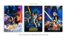 STAR WARS Mini POSTERS x3 - 7.5x11 +Laminated & FoamBoard Back