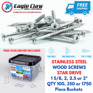 Eagle Claw Stainless Steel Wood Screws Star Drive Flat Head Various Sizes