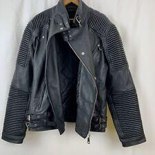 Decibel Biker Mens Leather jacket Black Size Large Moto Ribbed Sleeves