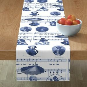 Table Runner Freedom Toile Blue And White Civil Rights History De Cotton Sateen