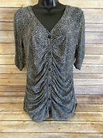 CABi Button Down Shirt Size Medium Womens Short Sleeve Animal Print Top Blouse