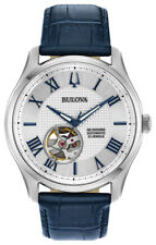 Bulova Wilton Men's 96A206 Automatic Blue Leather Strap 42mm Watch