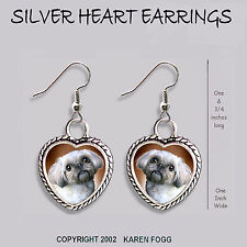 Lhasa Apso / Shih Tzu Dog - Heart Earrings Ornate Tibetan Silver