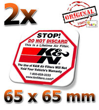 2x K&N Stop 65x65mm Aufkleber, Étiquette, Autocollant, Sticker, Decal KN K und N