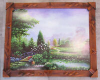 Vintage Framed Painting on Wood Brook Stream Bridge Landscape Wall Art Hanging