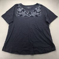 Croft & Barrow 0X Top Short Sleeve Scoop Neck Shirt Blue Floral Tee Embroidered