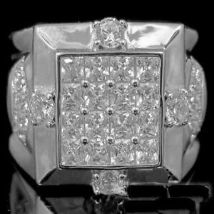 White Gold Finish Men's Engagement Wedding Anniversary Diamonds Ring Band 2.00CT