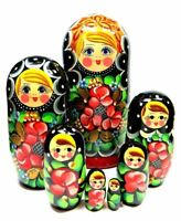 Nata Red Flowers Russian Babushka Nesting Dolls 7 Piece Set