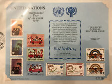 UN 1979 Scott SC15 IYC-UNICEF Official Souvenir Card FDC Set From Vienna Opening