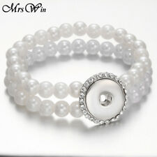 High Quality Multilayer 10mm Imitation Pearl Snap Bracelet Fit 18mm Snap Buttons