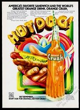 1972 Orange Crush soda and hot dog art vintage print ad