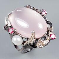 Vintage24ct+ Natural Rose Quartz 925 Sterling Silver Ring Size 9/R125332