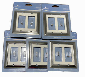Lot of 5 Brainerd Double Decorator Light White & Chrome Switch Cover 126311  A8