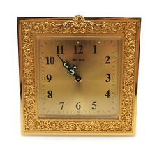 Vintage 4 inch Square Bulova Mechanical Wind Up Alarm Clock For Parts Use Only