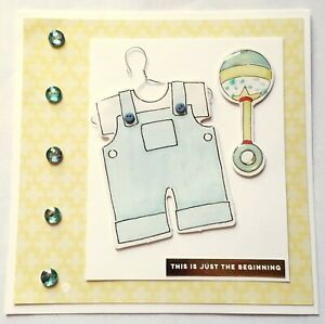 BABY Greeting Card - BOY CLOTHES JUST BEGINNING - Handmade Square with Envelope