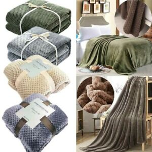 Super Soft Luxury Faux Fur Throw Sofa Bed Mink  Warm Fleece Cover Blanket Travel