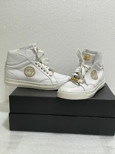 VERSACE WHITE LEATHER SNEAKERS w/EMBROIDERED GOLD MEDUSA High Tops Size 40 US 7