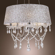 CLASSIC  Crystal Drum Dazzling Ceiling Lighting Chandelier 5 Lights Lamp Pendant