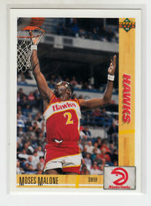 MOSES MALONE 1991-92 Upper Deck  #47 Error Variation w/ 1991 Hologram
