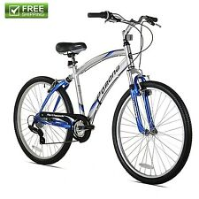 "Northwoods Men's 26"" Silver Cruiser Hybrid Trail Suspension Bike Shimano NEW!"