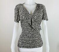 White House Black Market Women Size XL Multicolor Short Sleeves Blouse Top Shirt