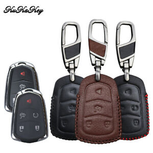 Leather Car Key Fob Case Cover For Cadillac VT6 XT5 XTS ATSL ATS SRX 4/5 Buttons