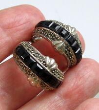 Estate Vintage JUDITH JACK Large Marcasite Sterling Silver Onyx Hoop Earrings