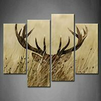 NEW 4 Panel Wall Art Deer Stag With Long Antler In The Bushes Painting The Pict