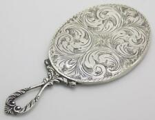 Vintage Solid Silver Italian Made Chiseled Hand / Purse Mirror, Hallmarked