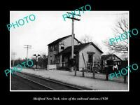 OLD LARGE HISTORIC PHOTO OF MEDFORD NEW YORK, THE RAILROAD DEPOT STATION c1920