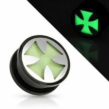 Earrings Ring Black UV Screw Fit Plug with Glow in the Dark Hollow Iron Cross So