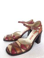 Miu Miu Multicolour Patch Leather Chunky Heel Shoes Women Size 37 7