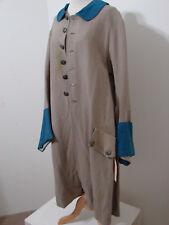 Victorian Tail Coat Revolutionary Beige Burlap Wool Bell Sleeve Screen Worn 42