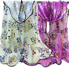 Women Floral Print Tulle Scarf Long Soft Sheer Hemming Wrap Shawl Stole Novelty
