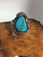 Vintage Navajo Cuff Bracelet - Sterling Silver  Large Turquoise Stone Fern Leafs