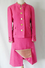 Vtg Saks fifth Avenue Skirt Suit Wool Tweed Pink Size L