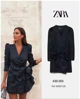 ZARA SOLD OUT  BLACK BLAZER DRESS WITH BOW SIZE S 8293/128