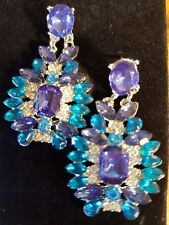 blue Sapphire quartz blue Topaz quartz silver magnificent earring