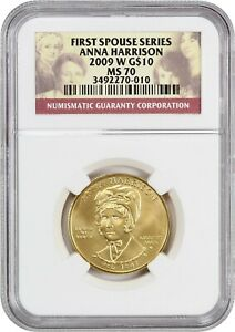 2009-W Anna Harrison $10 NGC MS70 - First Spouse .999 Gold