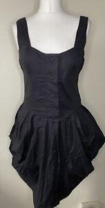 All Saints Black Beaujolais Dress Size 12 Steampunk Hitched Parachute Cotton