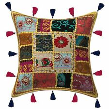 Indian Ikat Kantha Sofa Hademade Cushion Cover Cotton Pillowcase 16'' Home Décor