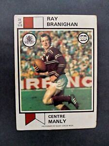 Scanlens 1974 Rugby League Ray Branighan Manly Sea Eagles Card No 21 NRL NSWRL