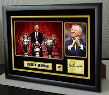 "Sir Alex Ferguson Framed Canvas Print Signed Great Gift Ltd Edition ""Great Gift"""