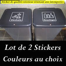 sticker autocollant poubelle tri sélectif déchets recyclages ordure ménagère