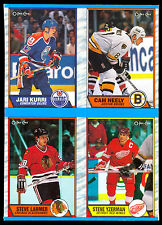 1989-90 O PEE CHEE opc Steve Yzerman Cam Neely NM BOX BOTTOM 4 CARD UNCUT PANEL