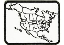 """(B44) NORTH AMERICA Color-in 3-3/4"""" x 2-3/4"""" iron on patch (2527) USA Biker"""